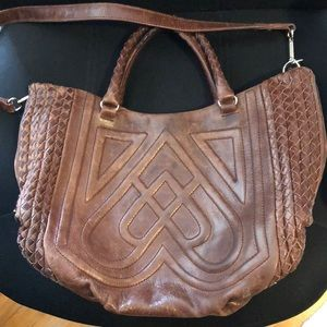 Authentic Elliott Lucca Brown Leather Satchel Bag